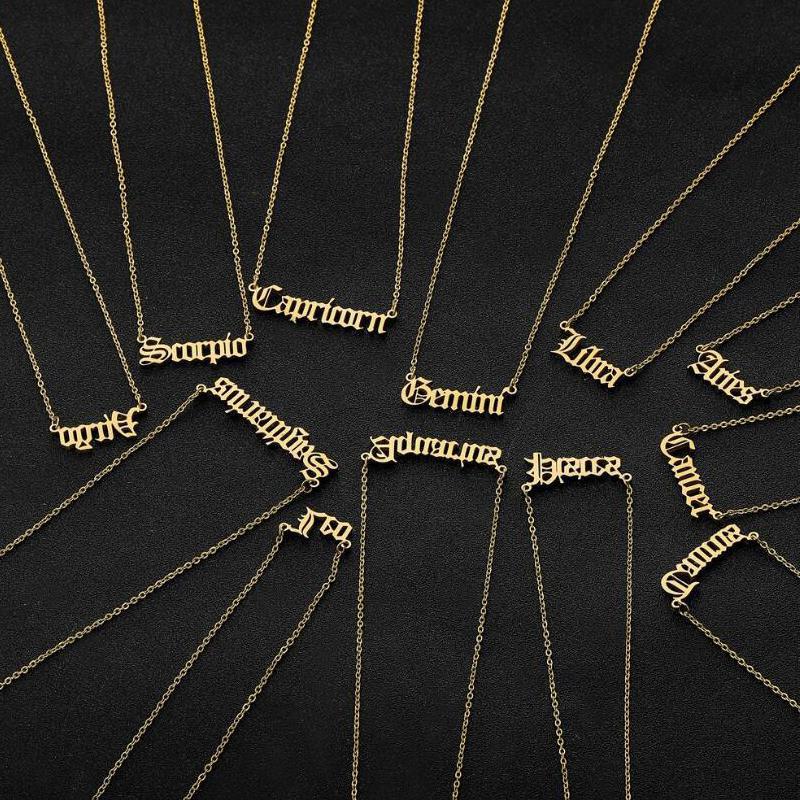 الفولاذ المقاوم للصدأ قلادة الإبداع مجوهرات بنات اثنا عشر كوكبة ريترو زودياك رسالة الإنجليزية الأبجدية القلائد للمرأة