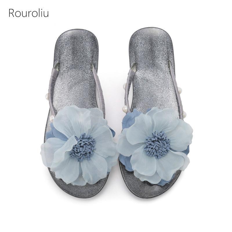 Rouroliu 2020 Flor do verão Flip Flops Mulheres macia Sole Início sapatos de praia Casual Chinelos Plano Heel Bling Slides