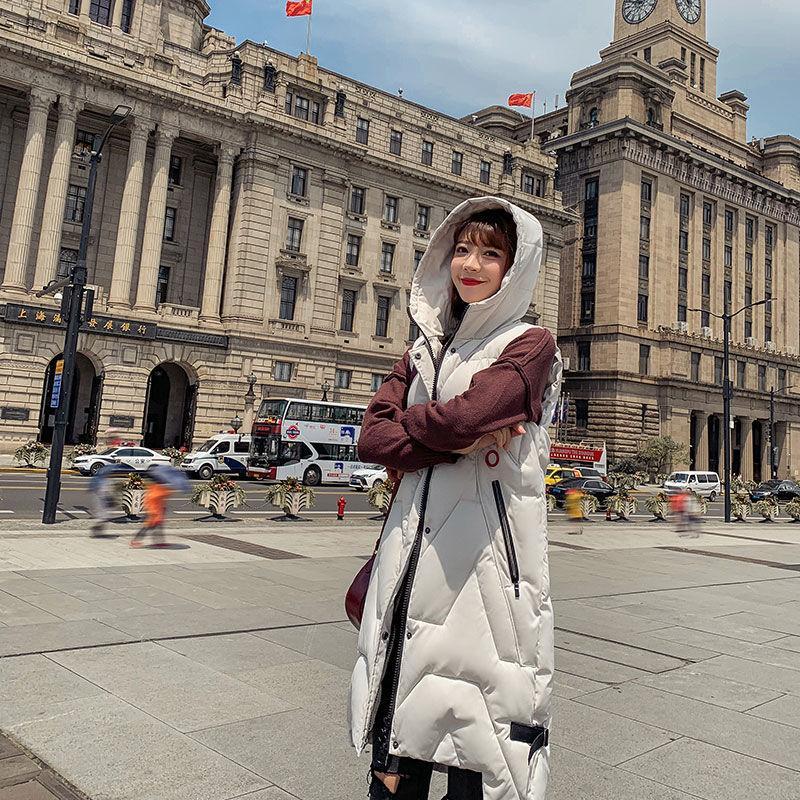 2020 otoño caliente de invierno suelta de nuevo de las mujeres gruesas de algodón acolchado chaleco femenino de Corea del sólido Todo-fósforo largo sin mangas del chaleco de A205