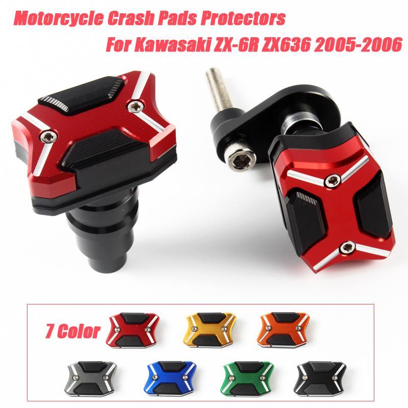 Motosiklet için ZX6R ZX6R ZX636 2005-2006 tarihinde Mağarası Çerçeve Slider Motor Kapağı Crash Pedleri Koruyucular silp Kaçış