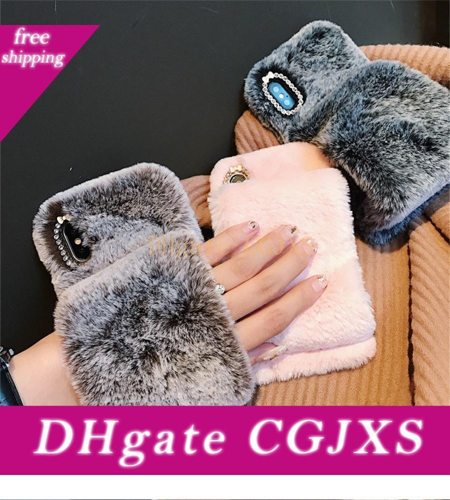 Tavşan Saç Bileklik Telefon Kılıfı için Iphone 7 8 6s Artı Vaka Sevimli Sıcak Kürk Yumuşak TPU Peluş Kapak için Iphone X Xs Max Xr