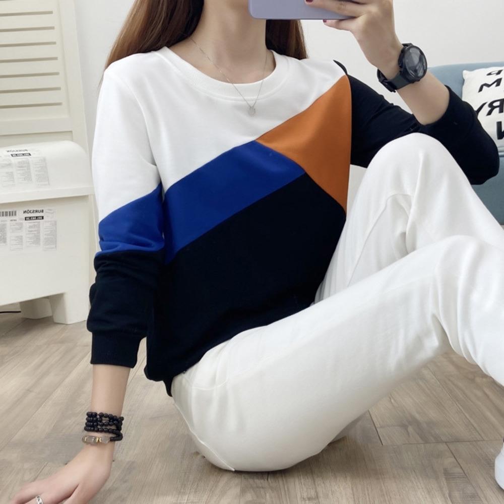 t-shirt ImwUc pmOJT Autumn New coreana camisola de manga comprida fina superior das mulheres Top Sweater T-shirt do estilo 2020 costura emagrecimento de moda