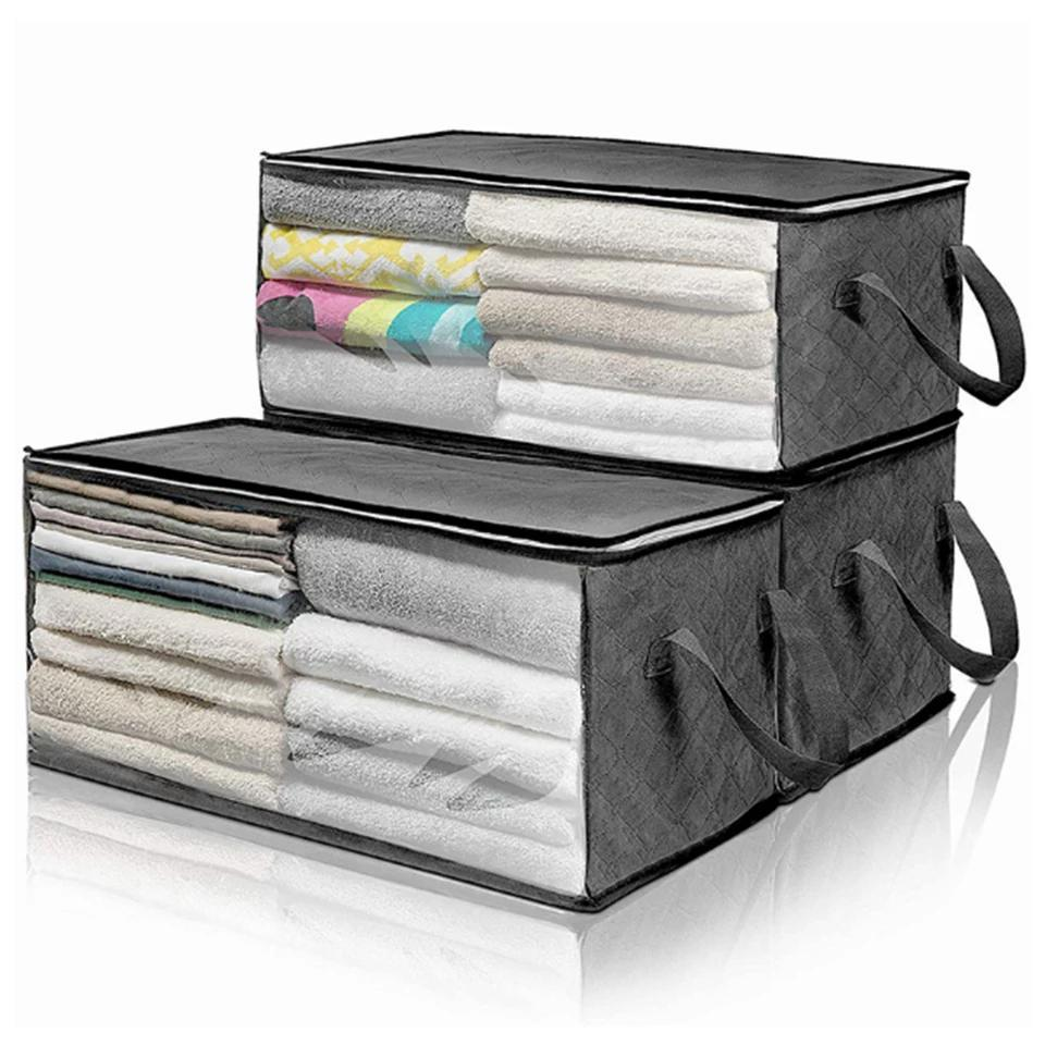 Folding Storage Box Portable Clothes Collect Organizer Non Woven Fabric Tidy Pouch Suitcase Home Storage Box Toys Storage Case DHC871