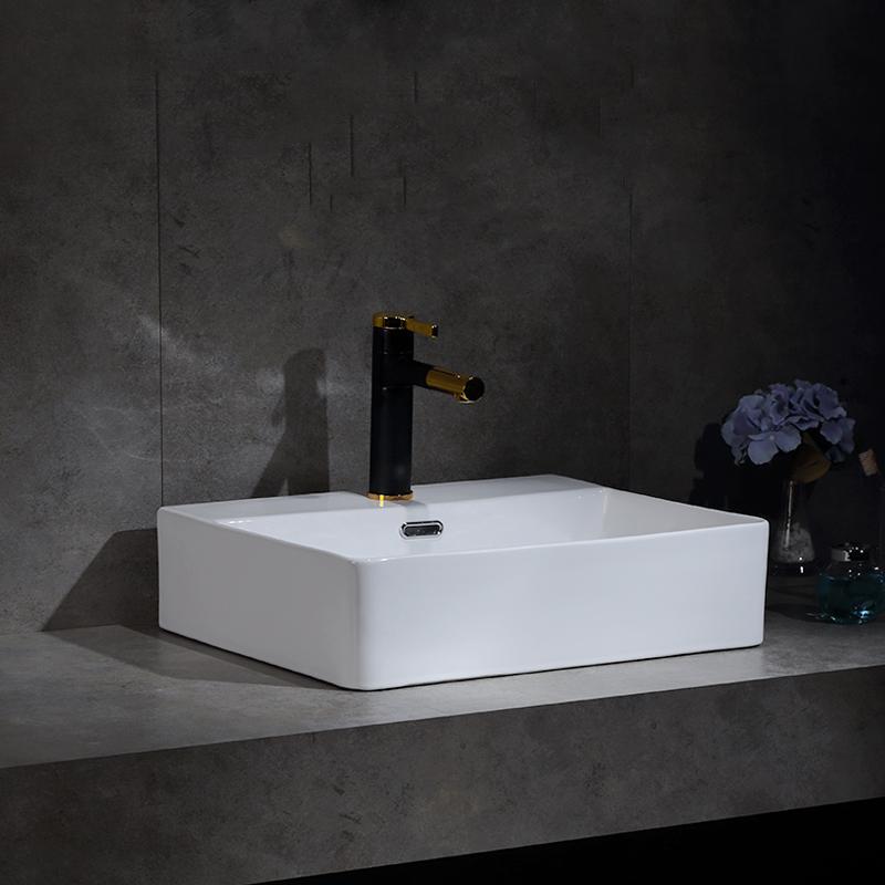 Cerâmica Lavatório Casa de Banho Sanitários Sink Cerâmica branca Acima contador bacia Furo Único acessório do banheiro Bancada Sinks