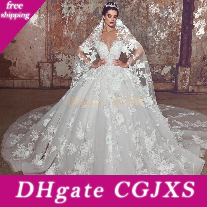 Lusso puro palla abito da sposa abiti da Dubai Chiesa fuori dalla spalla Perline appliqued abito da sposa sweep treno principessa abito da sposa