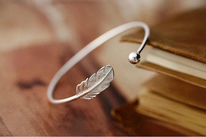 Jisensp Unique Leaves Bangles Silver Color Jewelry Open Cuff Leaf Charm Bracelets & Bangles Best Gift For Friend Pulseras 2t96#