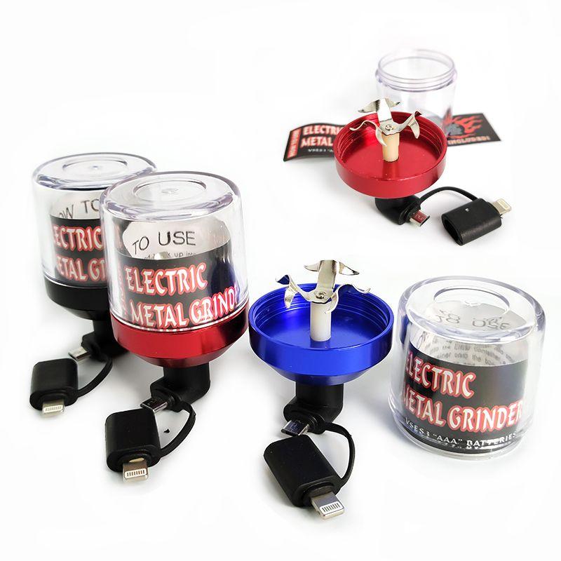 Алюминий Электрического Табак Херб Grinder табак мясорубка металл дробилка Электрический 3 цвет Fit USB Andorid Телефон Оплата
