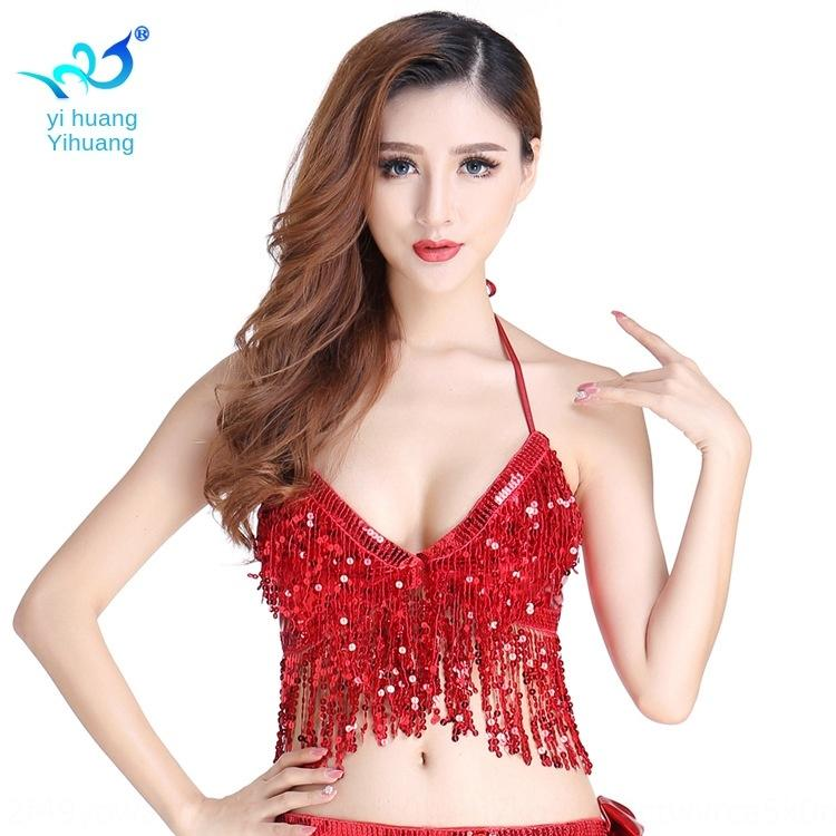 jXQs8 Sequin performance top Bund tassel Clothing sequins Top sequins wrap chest cosplay pole dance belly dance clothing m8JAq