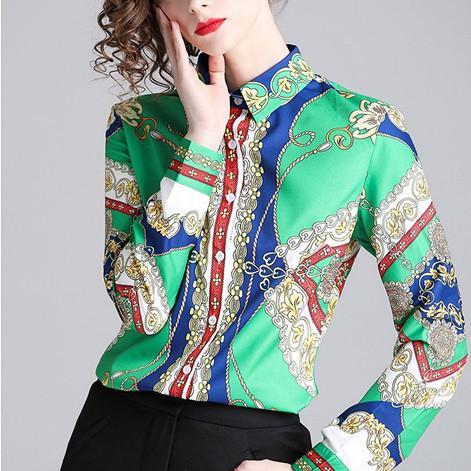 Europa stazione di primavera di usura 2020 donne nuove marche famose versatili slim fit di tendenza delle donne della camicia camicia di modo stampata camicia