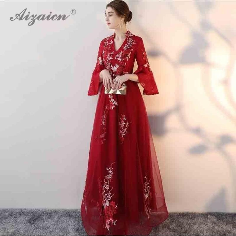 Pregnant Woman Fashion Red Embroidery Cheongsam Evening Dresses Chinese Wedding Dress Qipao Long Oriental Style Plus Size Qi Pao