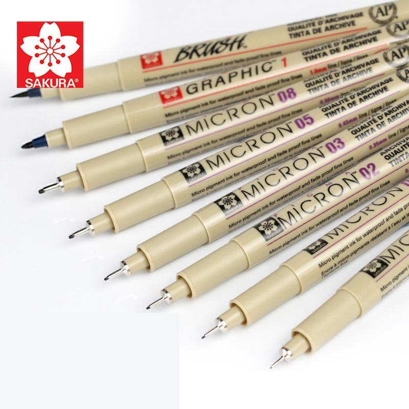 Forniture Sakura Pigma Micron Neelde morbido pennello da disegno penna Fineliner fumetto d'archivio inchiostro cancelleria Animation Art Marker Y200709
