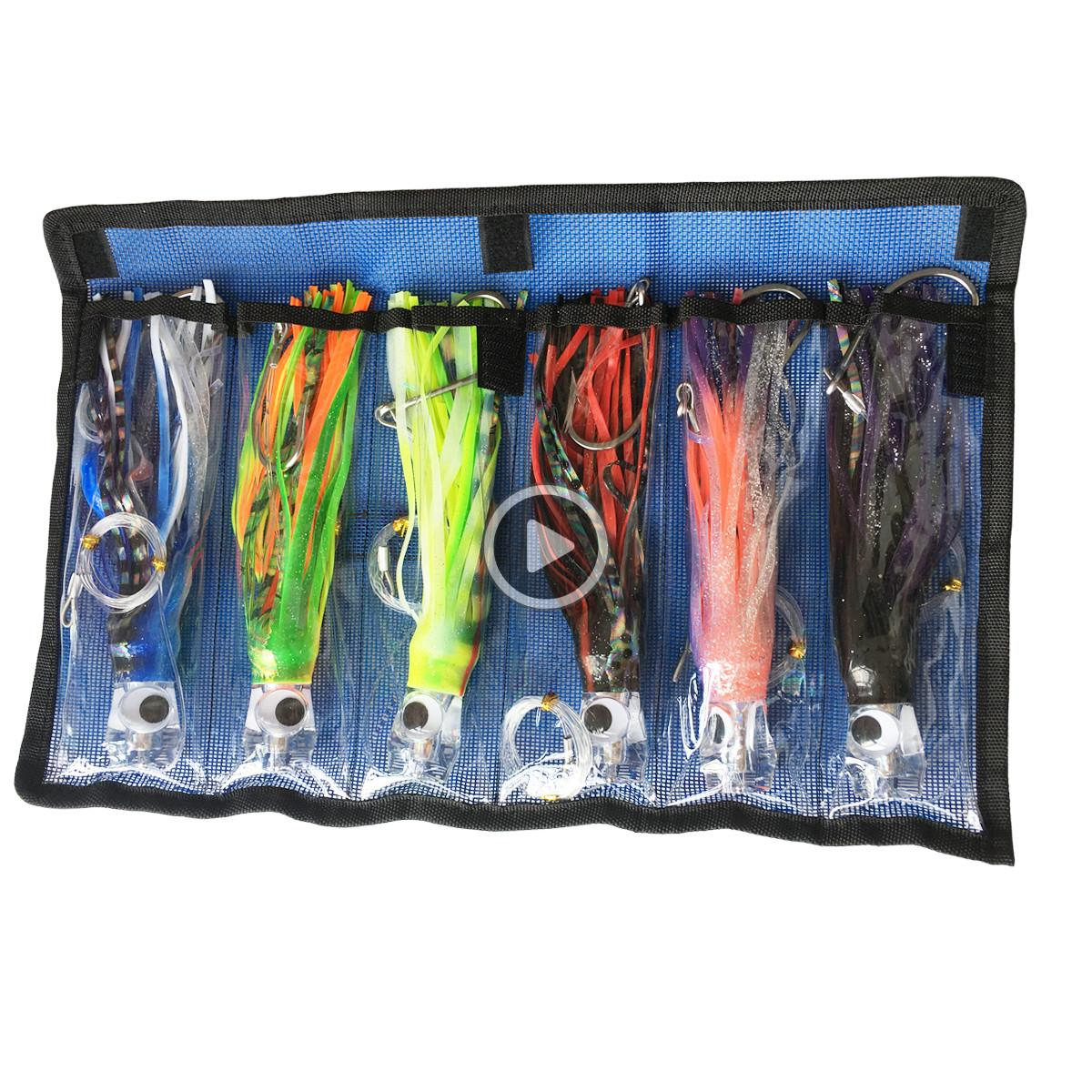 Octopus Skirts Trolling Lures Saltwater Tuna Marlin Wahoo Trolling Skirt Lures with Stainess Steel Hook and Swivel Red Leader Hook and Ba