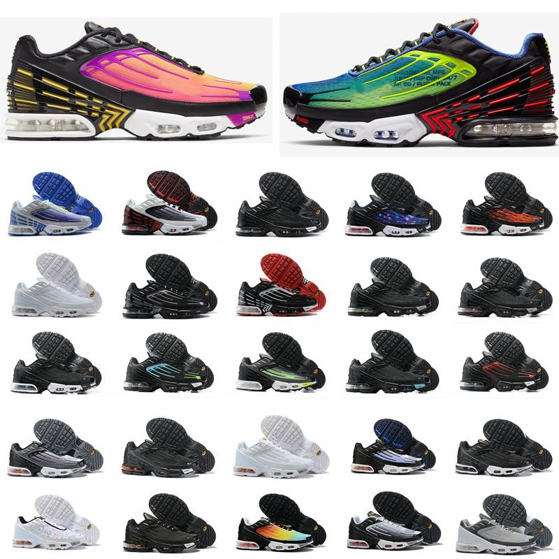 New Turned Tn Plus 3 III Mens Running Shoes Parachute Triple Black White tns chaussures Homme mercurial Trainers Zapatos