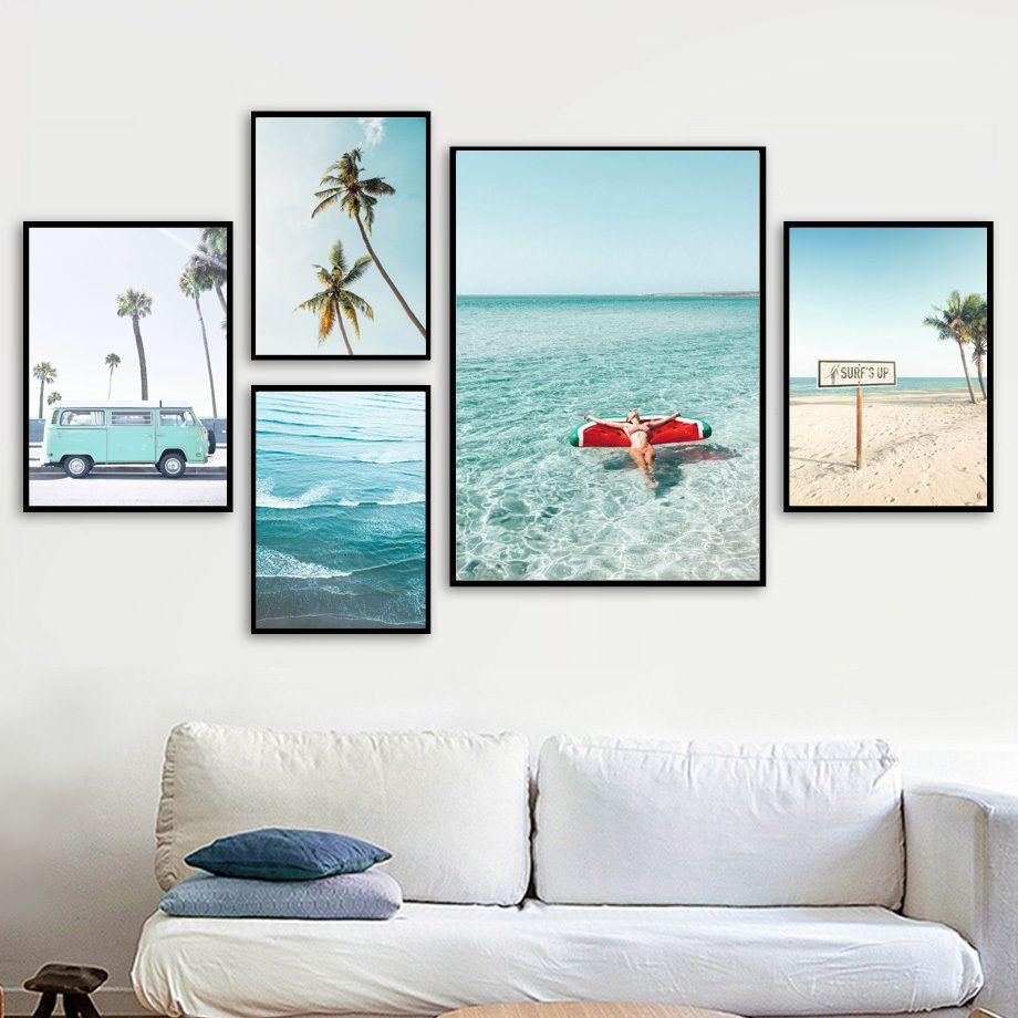 Palma Ananas Sexy Girl Sea Beach di arte della parete della tela di canapa pittura nordica Poster e stampe Foto a muro per vivere Room Decor