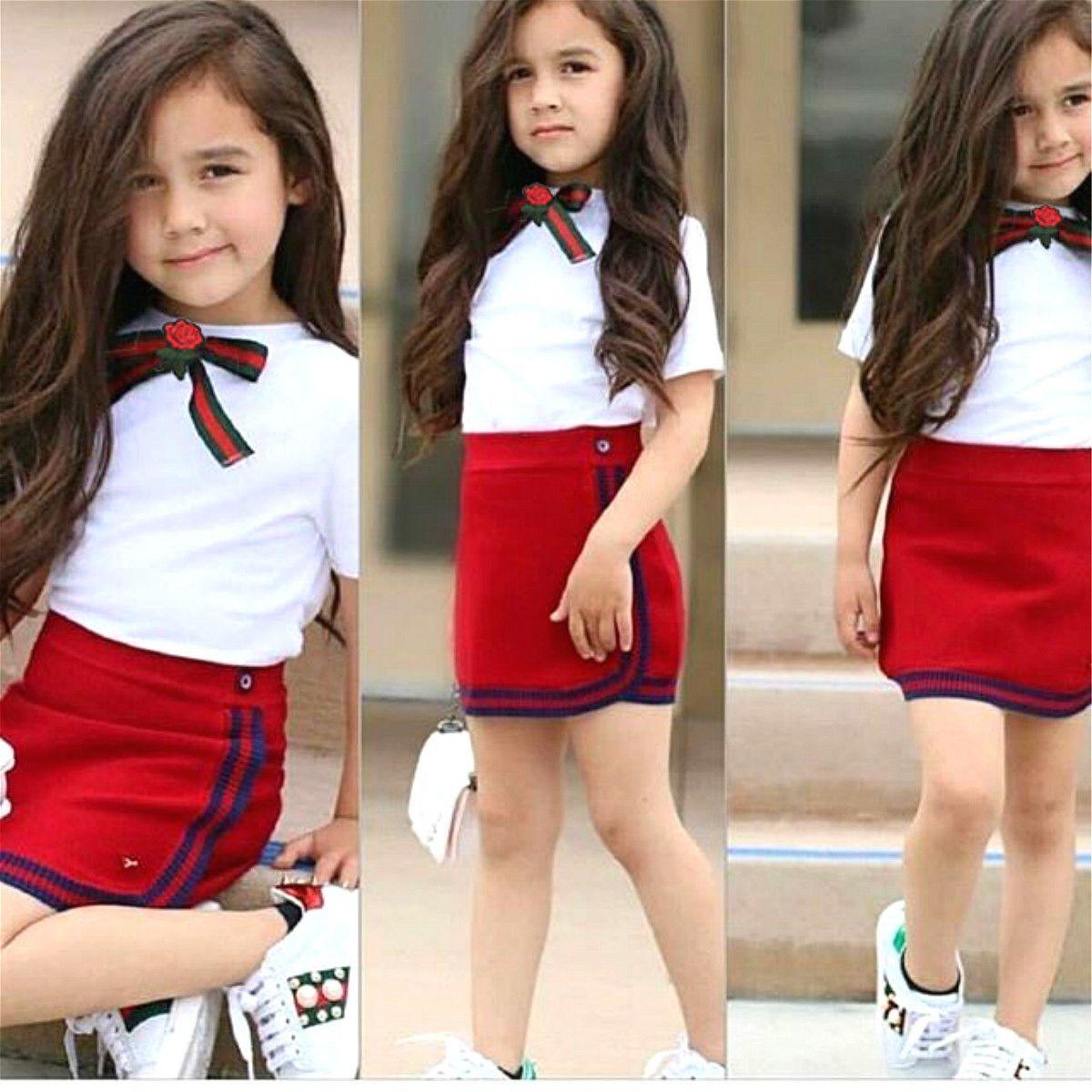 Uniform Style Two Piece Toddler Girl Clothes Set Newborn Kid Baby Girls Bow Flower Tie Tops T-shirt Short Mini Skirt Tutu Dress Y200829