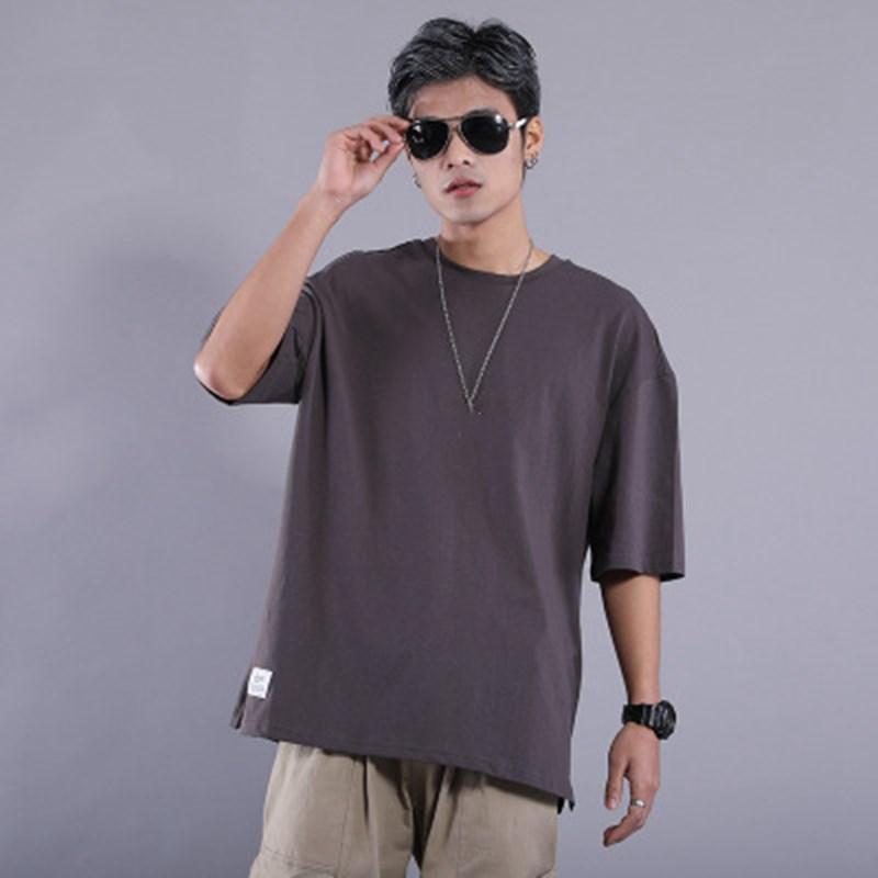 Men's Cotton T-Shirt Summer Half Sleeve Fashion Loose Modern One-Neck Cotton Black White Red Soild Color Men's Top Shirt