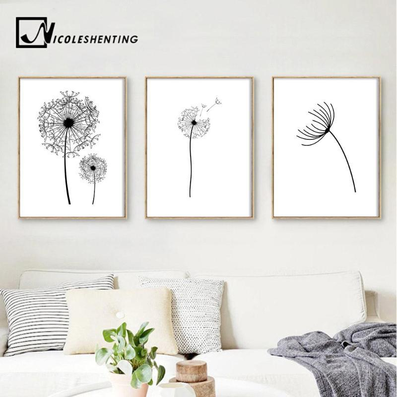 Dandelion flower Landscape Wall Art Canvas Poster Black White Minimalist Print Painting Wall Picture for Living Room Home Decor