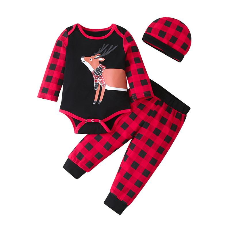 Bebek Giyim Giyim Seti Uzun Kollu Romper Pantolon Şapka 3 adet Moda Bebekler Boy Kız Izgara Noel Elk Baskı Kıyafetler Giyim