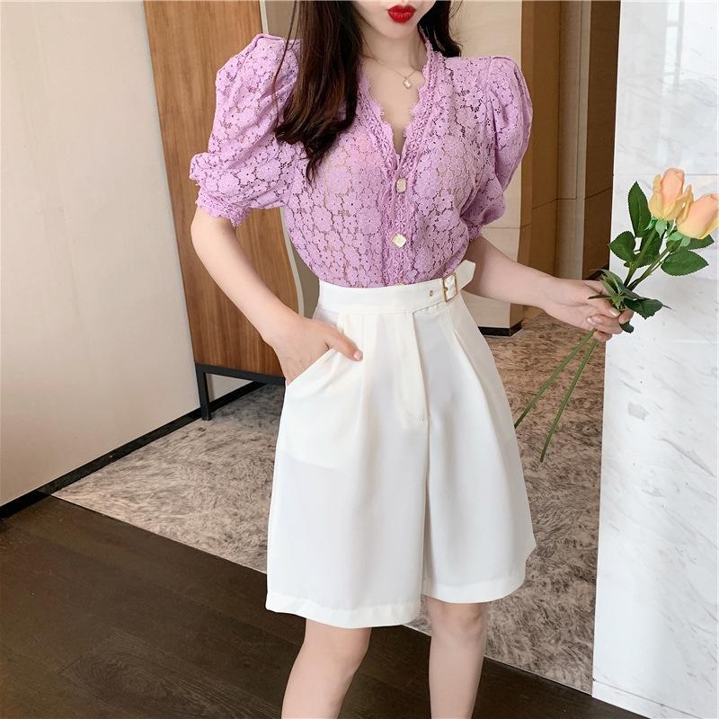 PzIlr 1MnqJ pantolon gündelik geniĢ iki parça bir takım 2020 yeni Geniş takım elbise pantolon geniş bacak Fransız Kadın İnternet ünlü küçük moda bacak yaz Biz
