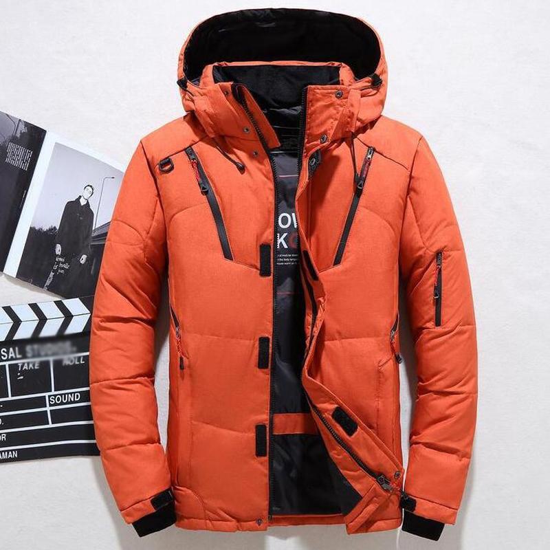 Новая зимняя куртка Мужчины Повседневная белая утка вниз теплый с капюшоном Пальто Мужские пиджаки Ветровка сгущаться ветровки 4XL Abrigo Hombre casaco