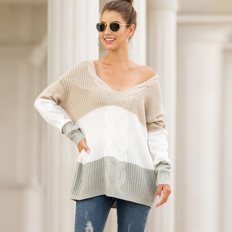 Dq75g V-neckshoulder осень и зима новых женщин 2020 твист пуловер свитер соответствия цвета пуловер свитер