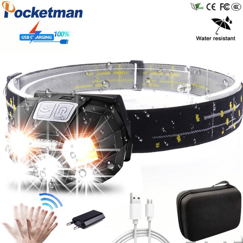 Leistungsfähiger Körperbewegungs-Sensor-LED-Scheinwerfer wasserdicht nachladbare Scheinwerfer-Kopf-Licht-Fackel-Lampe USB-z90