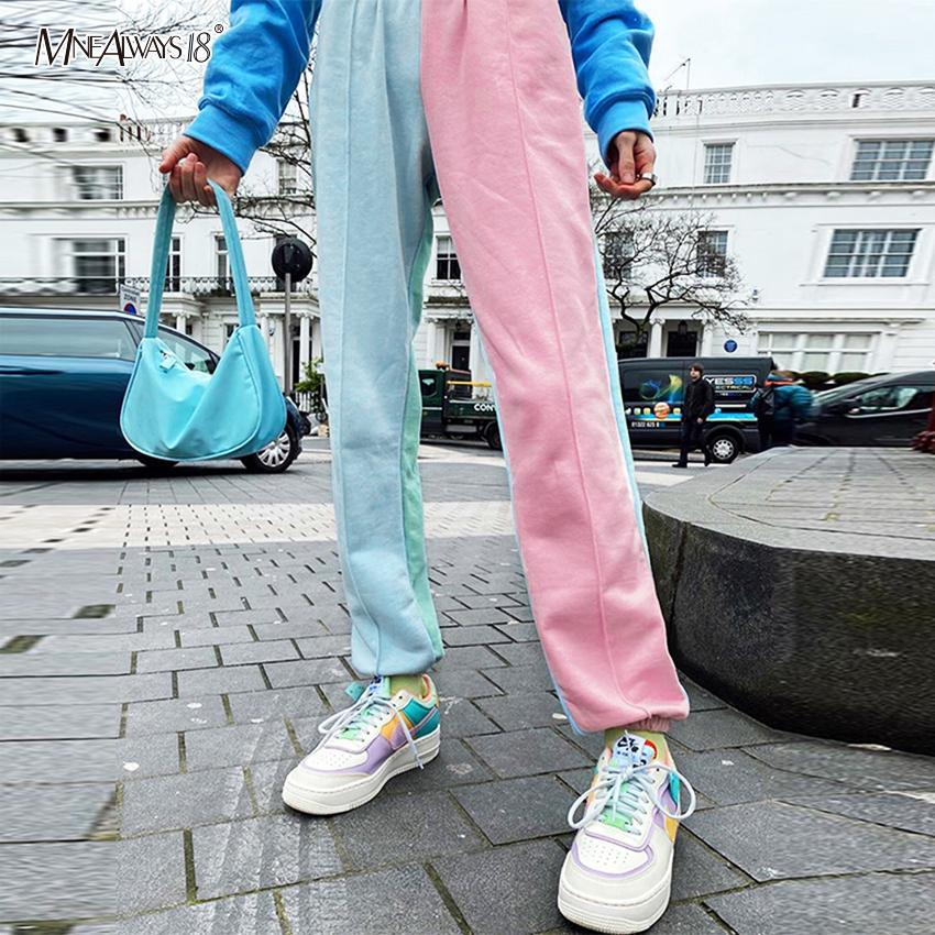 Mnealways18 Empalme color Pantalones bloqueo de las mujeres ocasionales Pantalones Loose pantalón de talle alto con paneles Harem Pantalones Joggers 2020 CX200807