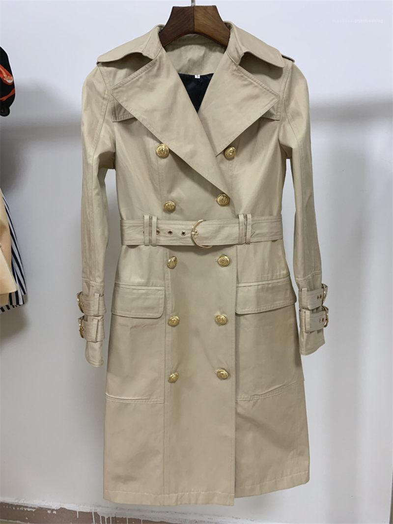 Temperament Long Coats Women Fashion Designer Lapel Neck Trench Coats Autumn Lapel Neck Double Breasted Coats Khaki Womens