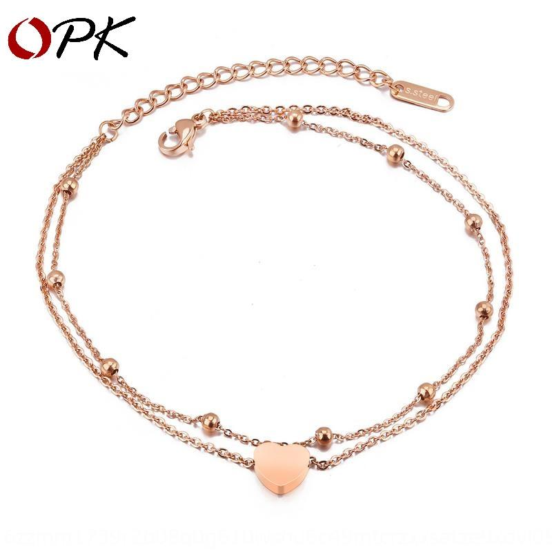 Women's titanium bracelet steel bracelet anklet dual-purpose Rose-plated gold double-layer design anklet for women