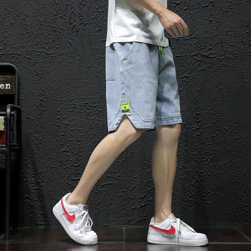 Shorts retas dos homens PLbJj Denim e shorts soltos verão marca fina coreano moda casual moda ferramental de 5 pontos calças cortadas para homens