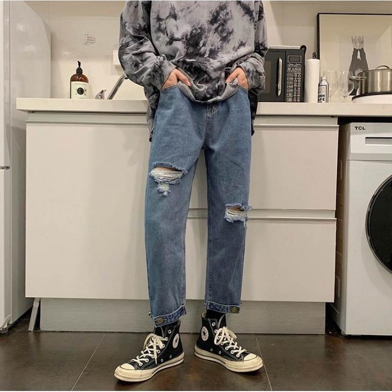 cl6bW 2020 pantaloni primaverili e alla caviglia ed estate jeans da uomo alla moda jeans strappati stile coreano ins pantaloni chic stile allentato casuale s AqcpA
