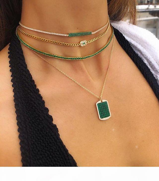 Vergoldete grün Regenbogen Baguette Zirkonia 30 + 10 cm Halsband Hochzeit wunderschöne Frauen Halskette
