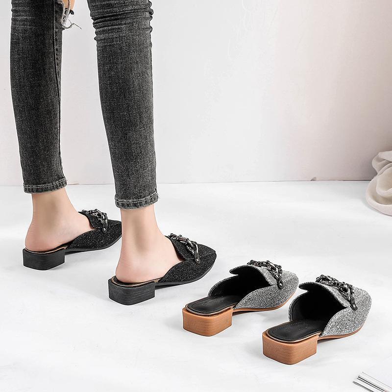 Verano zapatos de los deslizadores de las mujeres 2020 del tacón alto casual plaza cerrada de las lentejuelas salvajes pies mulas chanclas sandalias al aire libre Diapositivas