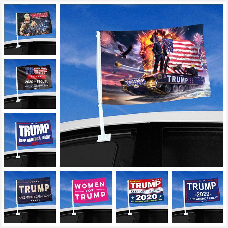 Fenêtre voiture Drapeau Trump Drapeau suspendu 45 * 30cm Bannière Décor Keep America Great Donald Trump 2020 Drapeaux de la campagne pour la voiture DHL gratuit