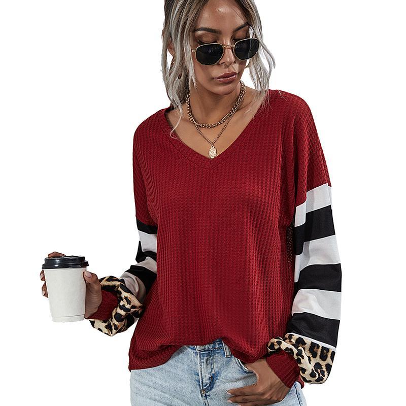 De rayas costura de manga larga camiseta de las mujeres