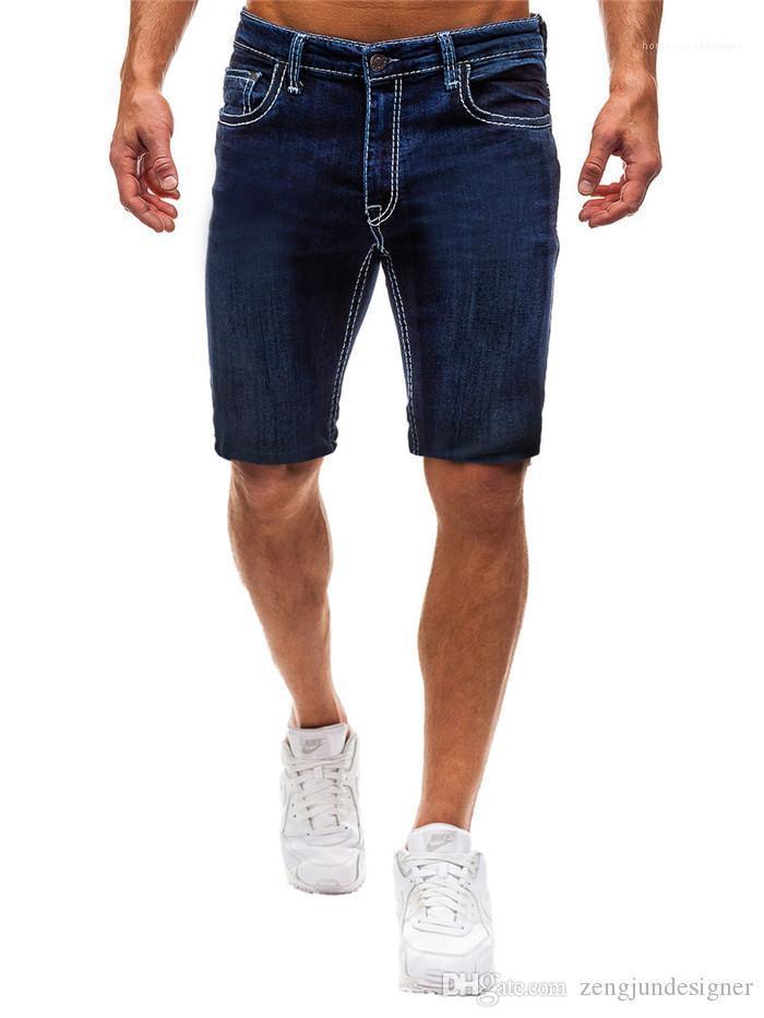 Mavi Moda Stil Homme Giyim Gündelik Giyim Erkek Yaz Tasarımcı Katı Renk Jeans Kısa Pantolon Siyah