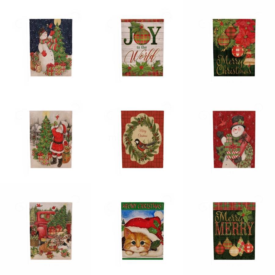 Decoración de Navidad colgante de la bandera de jardín interior al aire libre impresión del modelo del muñeco de decoración del hogar Jardín Feliz Navidad Colgando # 927