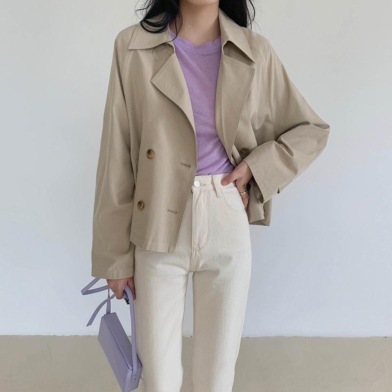 TG col tailleur style coréen court-circuitent les femmes coupe-vent 2020 nouveau printemps à double boutonnage occasionnel lâche manteau coupe-vent 10993 manteau manteau oO8g2 oO