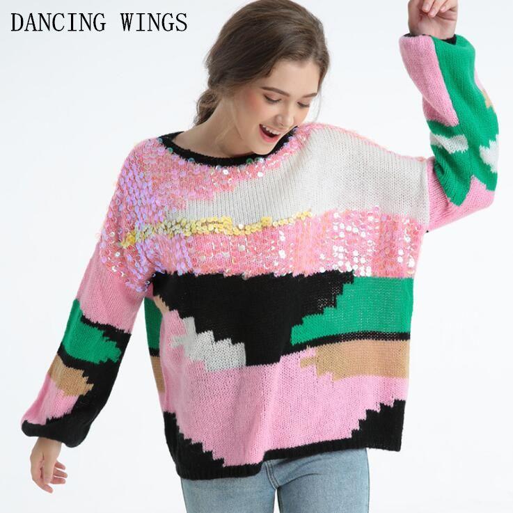 Outono inverno colorido lantejoulas mulheres suéteres e pulôvers Casual Rodada Pescoço Hit cor de malha camisola rosa jumper