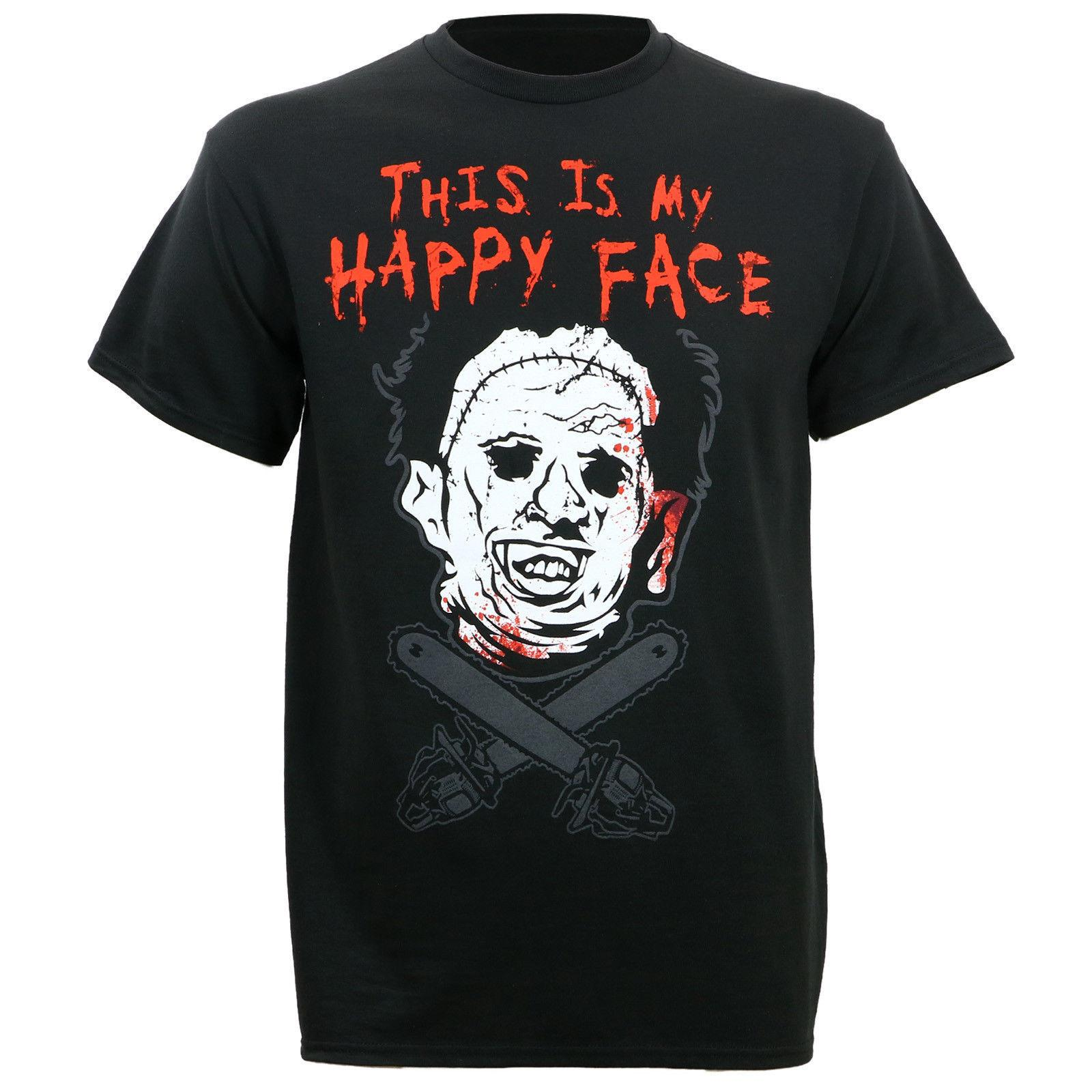 1texas Chainsaw Massacre Leather Happy Face T-Shirt Limited Edition Sommermode Lustige Druck T-Shirts Kawaii