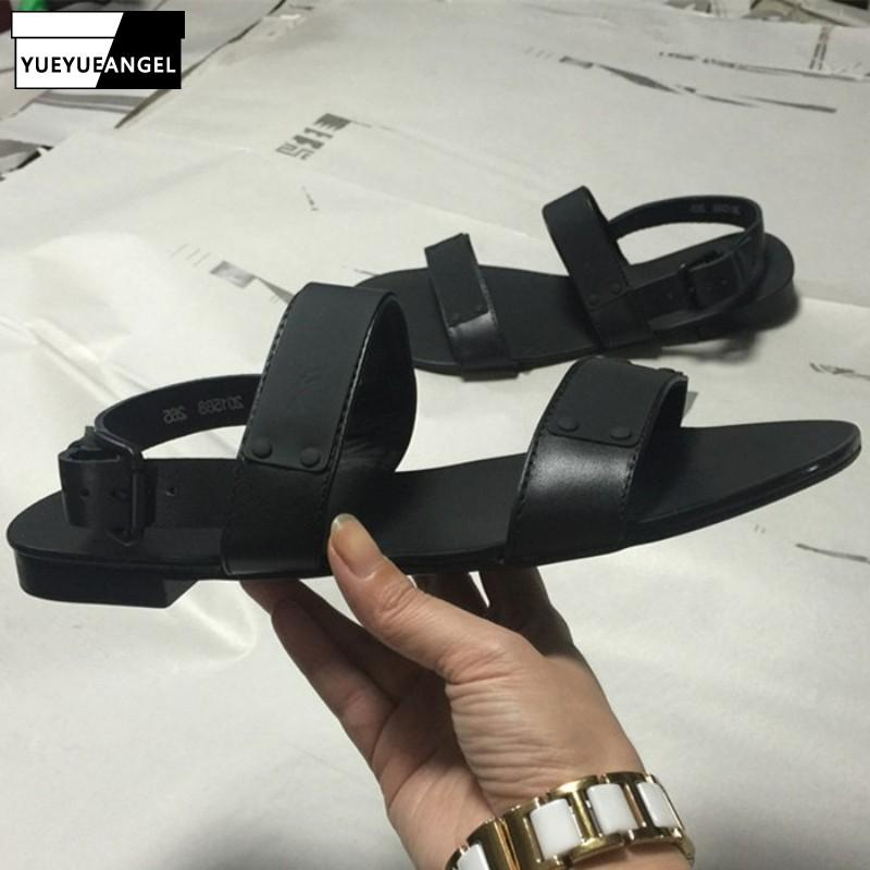 De cuero de vaca verano para hombre del gladiador de la vendimia playa sandalias casuales hebilla de punta abierta Zapatos masculinos Roma Sandalias Negro clásico más el tamaño