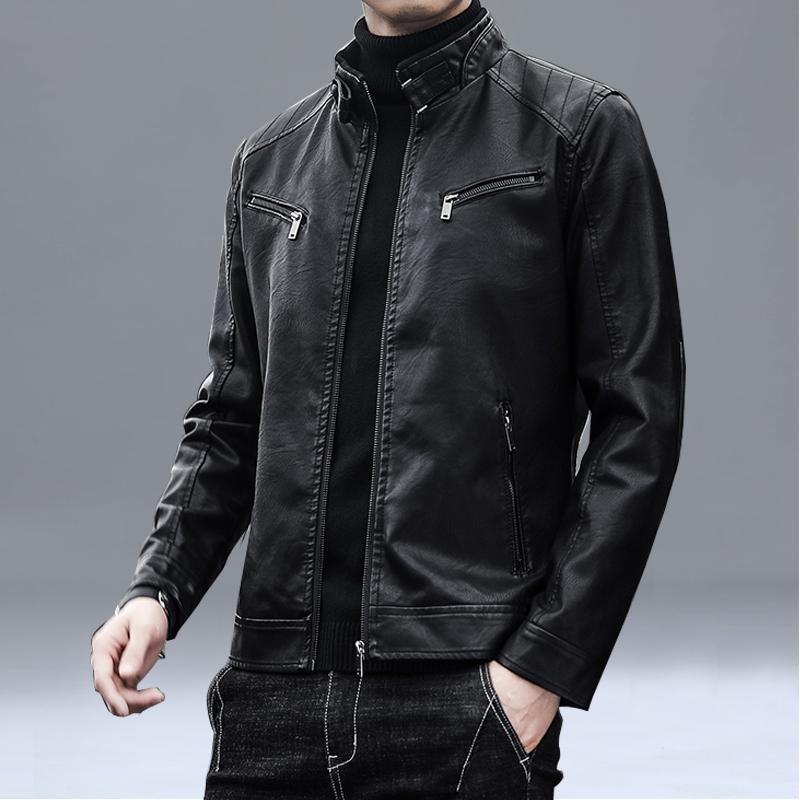 2020 new black leather jacket men's short casual slim men's leather jacket slimming all-match motorcycle soft jacket trendy