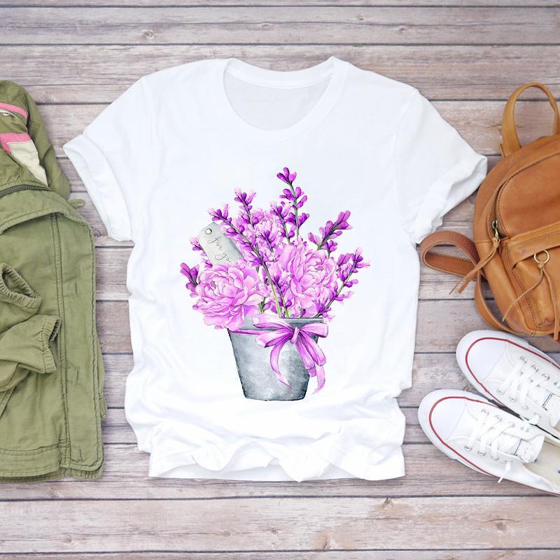 Le donne degli anni '90 floreale acquerello Ringraziamento sveglie Lady T-shirt delle donne superiori Graphic T Shirt da Donna femminile del T-Shirt