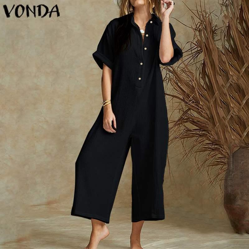 VONDA Vintage pierna ancha Calzoncillos 2020 de verano de los mamelucos de las mujeres del mono de manga corta más el tamaño de trajes para jugar Trajes elegantes sólidas