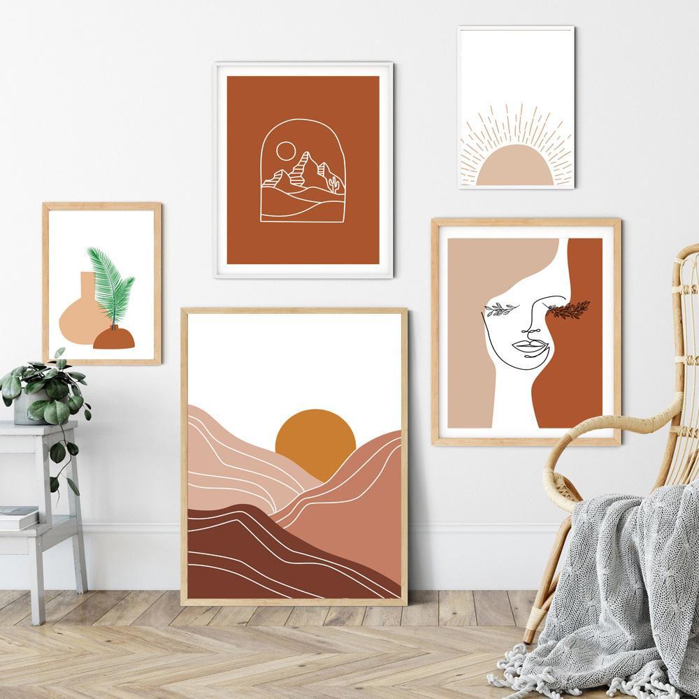 Abstrakte geometrische Linie Sonnenaufgang Pflanze Blatt Wand-Kunst-Leinwand-Malerei Nordic Poster und Print-Wandbilder für Wohnzimmer-Dekor