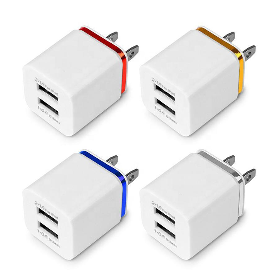 Metal Dual USB wall Charging Charger US EU Plug 2.1A AC Power Adapter Wall Charger Plug 2 port for Iphone Samsung Galaxy Note LG Tablet Ipad