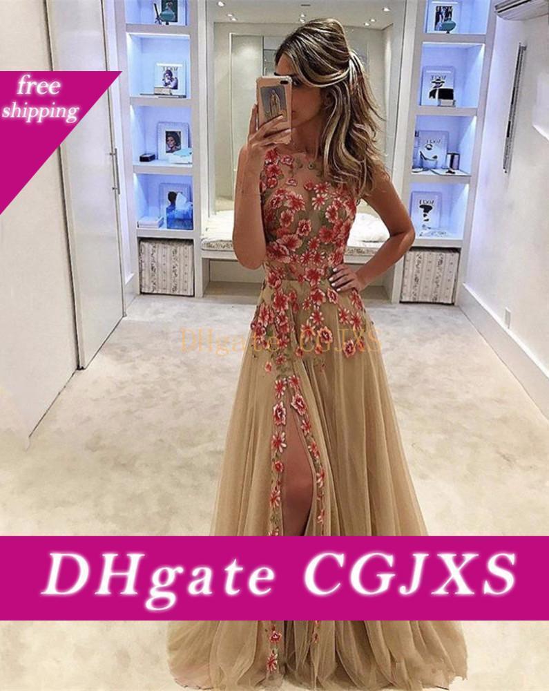 Ver a través de atractivos vestidos de baile de color con flores aplicadas Champagne noche del partido de los vestidos de tul lateral abierto la línea vestido
