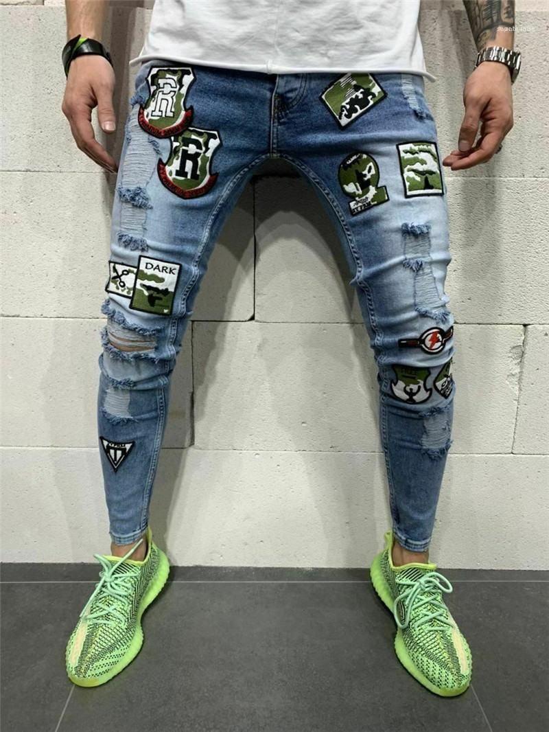 Kot Delikler Kalem Pantolon Yıkanmış Hafif Casual Slim Orta Bel Fermuar Fly Erkek Denim Pantolon Erkek Tasarımcı