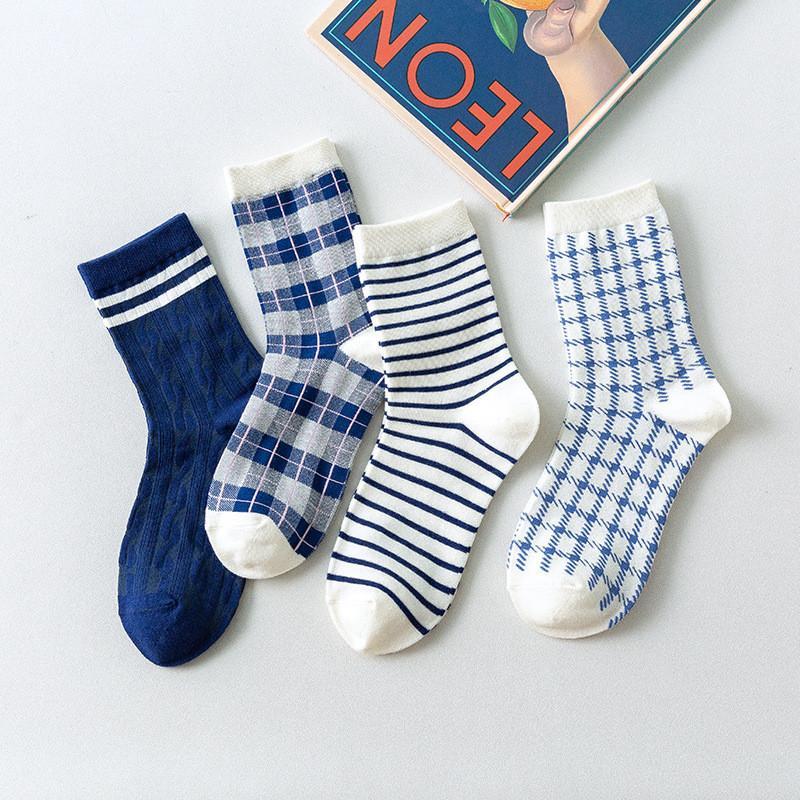 Nette gestreifte Stapel Socken Blau Plaid Frauen Socken Mädchen Baumwollstrümpfe Skateboard Street Sports Socken Lange Socken