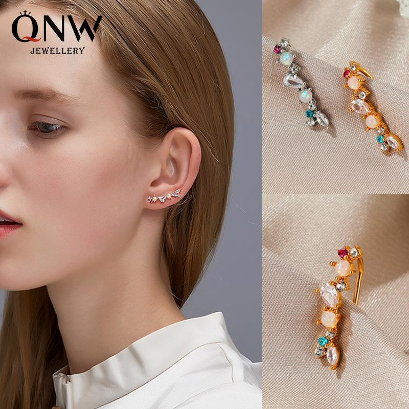 Novos brincos estilo grampos de zircão ouvido simples, temperamento perolado pedra brincos mulheres, cor personalizado zircônio opala lóbulo clips
